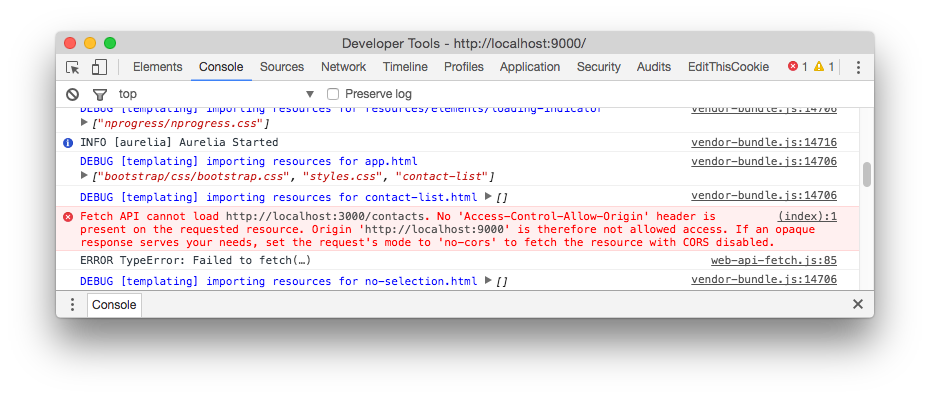 Screenshot of the web browser developer tools console showing the Cross Origin Resource Sharing error