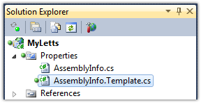 AssemblyInfo.Template.cs - Solution Explorer