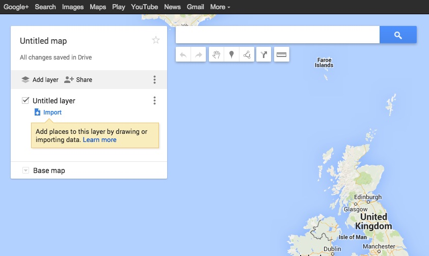 Importing the KML file into Google Maps is pretty straightforward