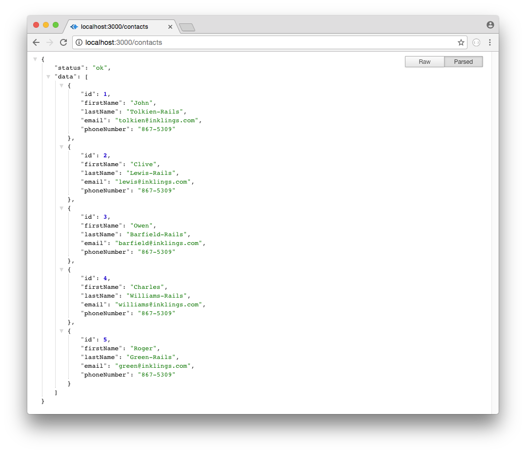 Browser screenshot showing Rails API Contacts List data in JSON format